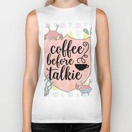 Coffee before Talkie - Coffee Lovers Cute Crabs Biker Tank