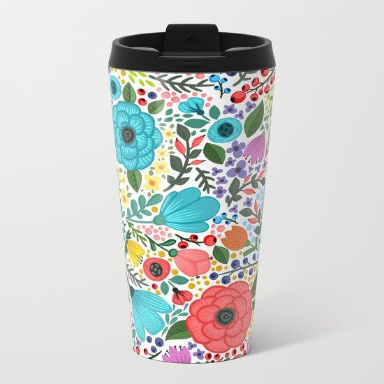 Colorful Vintage Spring Flowers Metal Travel Mug