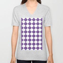Large Diamonds - White and Dark Lavender Violet Unisex V-Neck