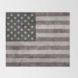 US flag in desaturated grunge Throw Blanket