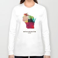 wisconsin Long Sleeve T-shirts featuring Wisconsin state map modern by bri.buckley