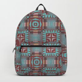 Aqua Turquoise Coral Red Brown Mosaic Pattern Backpack