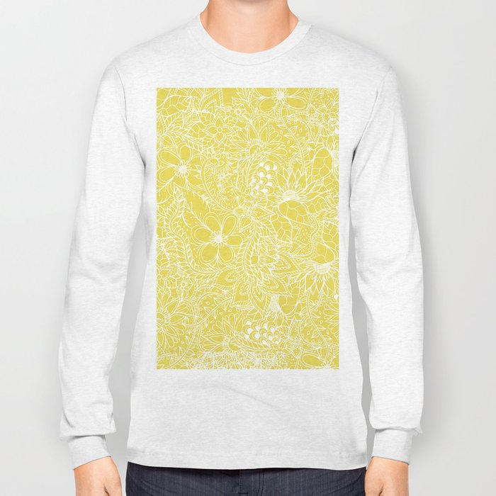 Modern trendy white floral lace hand drawn pattern on meadowlark yellow Long Sleeve T-shirt