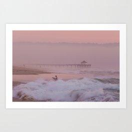 Manhattan Beach Surfer at Sunset Art Print