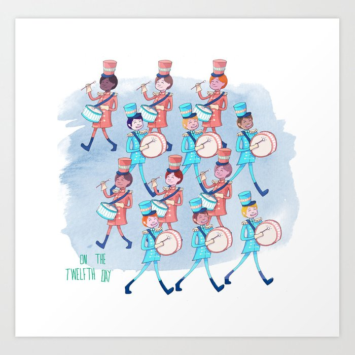 On The 12th Day Of Christmas.12th Day Of Christmas Art Print By Estherajibade