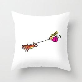 Dog Walking Girl Throw Pillow