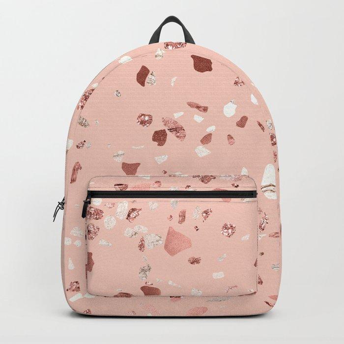Deep Pink Quartz Gold Terrazzo Backpack