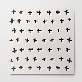 Black plus-abstract black and white pattern Metal Print