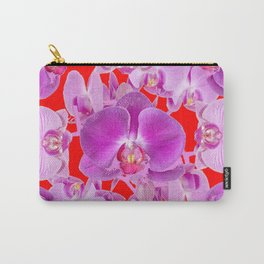Modern Red Ornate Pink & Purple  Butterfly Orchids Carry-All Pouch