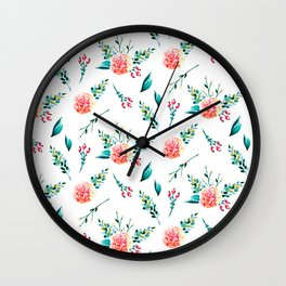 Hand painted bright pink orange green watercolor floral pattern Wall Clock