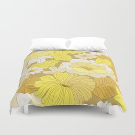 Yellow, Ivory & Brown Retro Flowers Duvet Cover