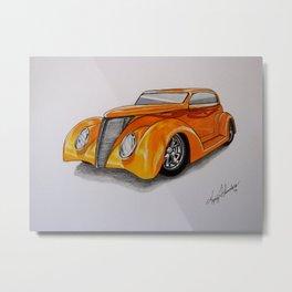Orange Hot Rod Metal Print