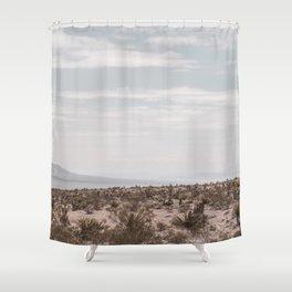 Blue Mountain Mojave // Vintage Desert Landscape Cactus Plants Nature Scenery Photograph Decor Shower Curtain