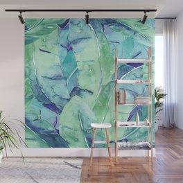 Banana Tree Leaves | Tropical  BLUE Watercolor Wall Mural