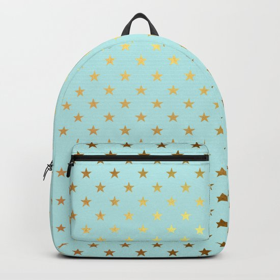 Princesslike- aqua and gold elegant star ornament pattern Backpack