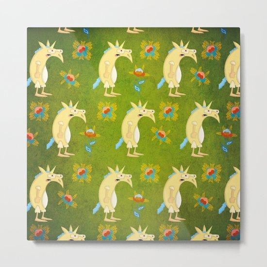 Flowers & Unicorns Metal Print