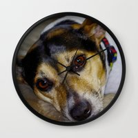 terrier Wall Clocks featuring Terrier by Rick Kirby