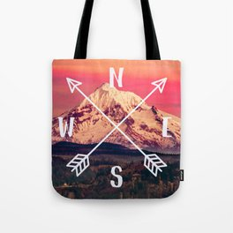 Snowy Mountain Compass Tote Bag
