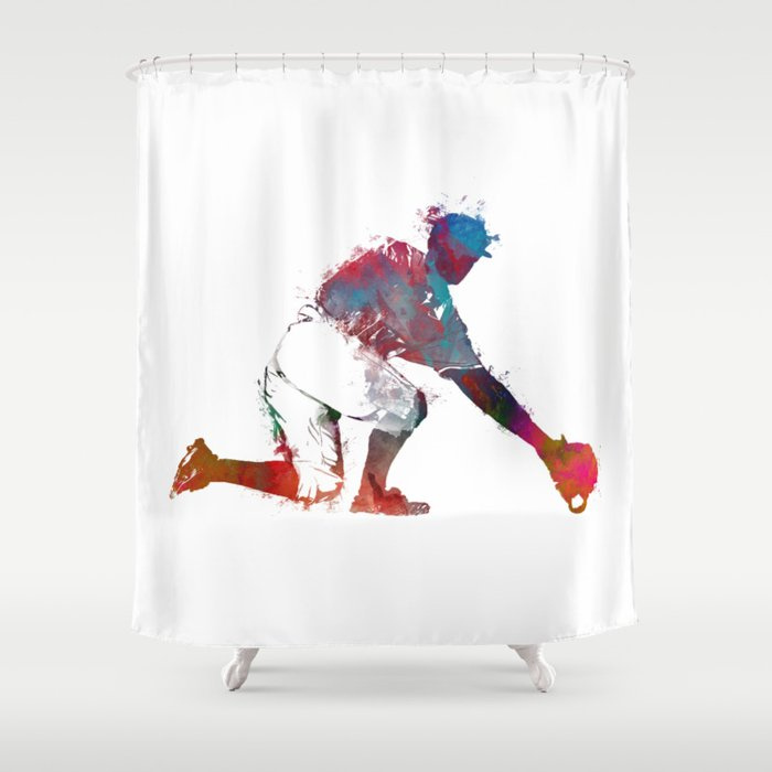 Baseball Player 5 Sport Shower Curtain