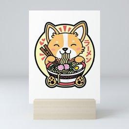 Kawaii Ramen Cute Anime Dog Corgi Japanese Noodles Mini Art Print