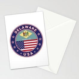 Delaware, Delaware t-shirt, Delaware sticker, circle, Delaware flag, white bg Stationery Cards