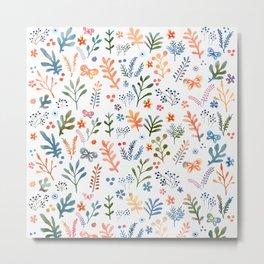 Rainbow Floral Pattern Metal Print
