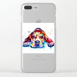 Beagle Illustration Clear iPhone Case