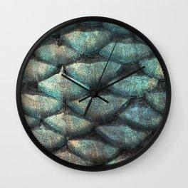Aqua rose mermaid scales Wall Clock