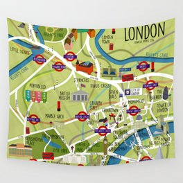 London map illustrated Wall Tapestry