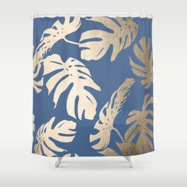 Simply Tropical Palm Leaves White Gold Sands on Aegean Blue Shower Curtain