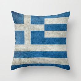 Greek Flag - vintage retro style Throw Pillow