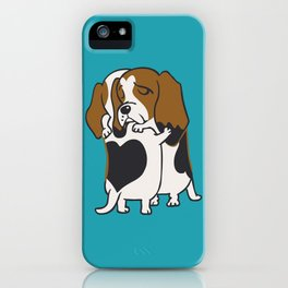Basset Hound Hugs iPhone Case