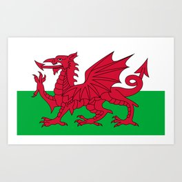 Flag of Wales - Hi Quality Authentic version Art Print
