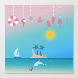 Cute Summer background with hanging icons. Canvas Print