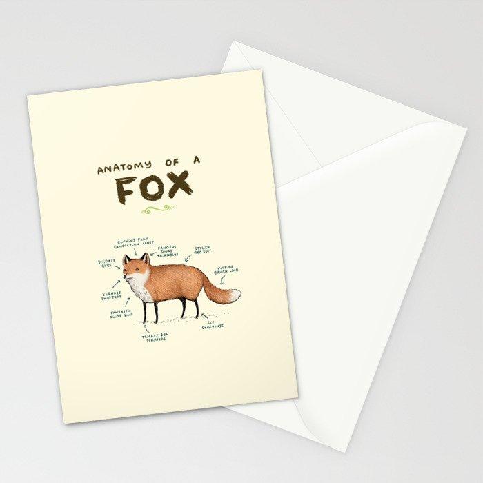 Anatomy of a Fox Stationery Cards by sophiecorrigan | Society6
