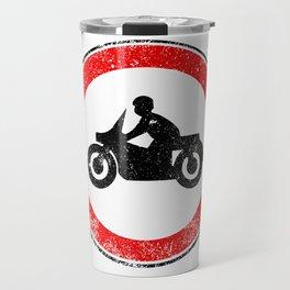 Motorcycle Round Traffic Sign Grunge Travel Mug