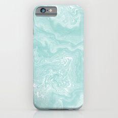 Moki - pastel mint spilled ink japanese watercolor paper marbling marble trendy abstract painting  Slim Case iPhone 6