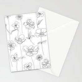 Botanical illustration drawing - Botanicals White Stationery Cards