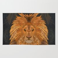 the lion king Area & Throw Rugs featuring King Lion by ArtLovePassion