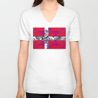 denmark V-neck T-shirts featuring circuit board Flag (Denmark) by seb mcnulty