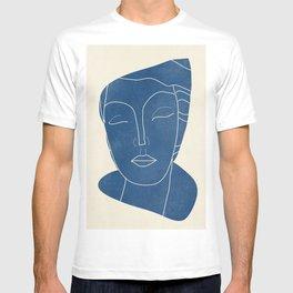 Lady Portrait Minimal Line Art 3 Blue T-shirt