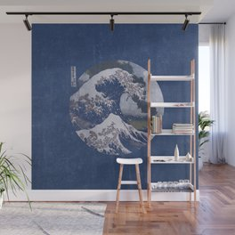 The Great Wave off Kanagawa Blue Tones Wall Mural