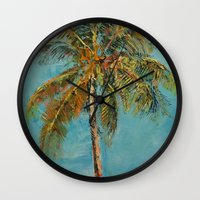 palm tree Wall Clocks featuring Palm Tree by Michael Creese