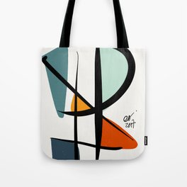Abstract Minimal Lyrical Expressionism Art Blue Orange Tote Bag