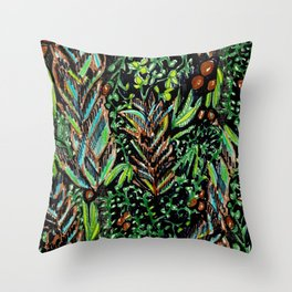 A Good Tropical Pattern With a Black Background is Hard to Find Throw Pillow