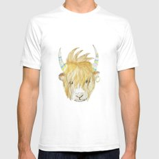 Yakety Yak Striped Illustration  Mens Fitted Tee SMALL White