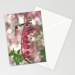 ruby-throated hummingbird on bleeding heart (with bokeh) Stationery Cards