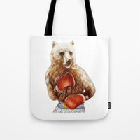 foo fighters Tote Bags featuring Bear Fighters. by beart24