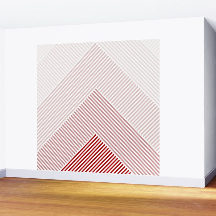 Shades of Red Abstract geometric pattern Wall Mural