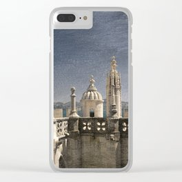 Monochrome treatment of the turrets at the Torre de Belem in Lisbon Clear iPhone Case
